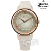 Vivienne Westwood / VV158RSBG / 放射光影琥珀真皮手錶 米灰x琥珀框 36mm