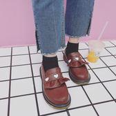 新款日系學院風厚底女鞋可愛圓頭娃娃鞋愛心套腳平底小皮鞋女【無趣工社】