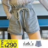 LULUS特價-A荷葉腰抽繩牛仔短褲S-L-藍  現+預【04020499】