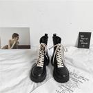 馬丁靴女2021年新款春秋單靴百搭厚底機車靴中筒鞋子女英倫風短靴一米陽光