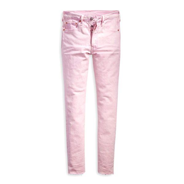 Levis 女款 501 Skinny 高腰排釦牛仔長褲 / 不收邊 / 彈性布料
