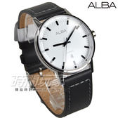 ALBA雅柏錶 動靜不設限 都會時尚真皮男錶 防水手錶 藍寶石水晶 日期視窗 黑x白 AG8H37X1 VJ32-X272Z