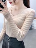 新款長袖 秋冬季V領針織衫長袖修身緊身內搭打底衫上衣套頭短款毛衣女 快速出貨