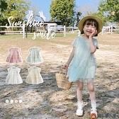 兒童連身裙清新素色甜美網紗拼接連身裙 女童 短袖蛋糕裙子【淘夢屋】
