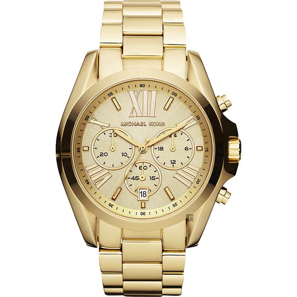Michael Kors MK 羅馬假期三眼計時手錶-金 MK5605