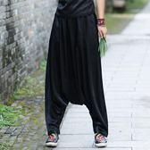 哈倫褲闊腿褲新款民族風綢緞提花垮褲小腳長褲