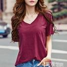 短袖T恤 2021韓版寬鬆V領夏季純棉體恤顯瘦打底簡約竹節棉短袖t恤衫女新款 智慧 618狂歡