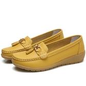 真皮豆豆鞋女 防水皮面懶人鞋樂福鞋