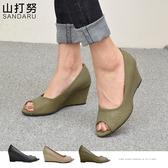 魚口鞋 簡約格紋楔型鞋-山打努SANDARU【107B122#46】