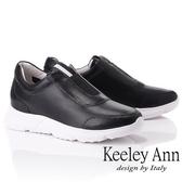 ★2019春夏★Keeley Ann我的日常生活 全真皮簡約素面休閒鞋(黑色) -Ann系列