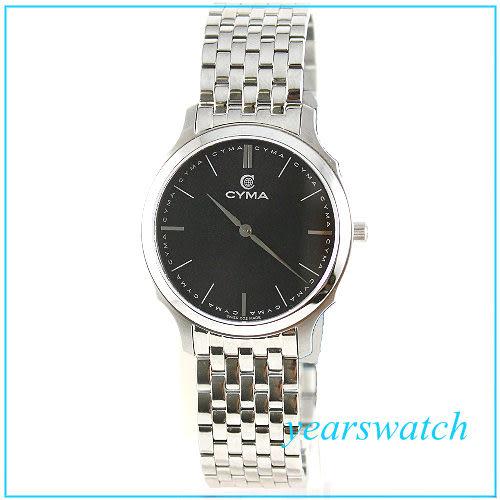 【萬年鐘錶】CYMA瑞士司馬錶 黑 超薄男錶 02-0458-002