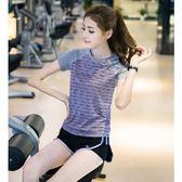 運動套裝女晨跑瑜伽服套裝短褲健身服女網紅顯瘦速干防走光帶內襯