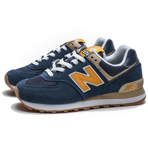 NEW BALANCE 574 深藍麂皮 土黃LOGO 復古 經典 休閒鞋 男女 (布魯克林) ML574SPF