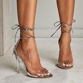 歐美蛇紋交叉綁帶細高跟大碼女透明涼鞋 夜店舞臺表演高跟鞋