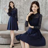 2018新款韓版女裝長袖鏤空蕾絲時尚氣質顯瘦打底a字洋裝 DN4570【Pink中大尺碼】