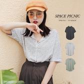 短袖 襯衫 Space Picnic 細格紋雪紡紗短袖襯衫(現貨)【C19053033】