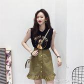 夏季新款韓版網紅同款套裝女寬鬆無袖T恤 高腰格子短裙兩件套 莫妮卡小屋