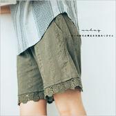 褲子  日單刺繡布蕾絲短褲(棉麻內裏)   二色-小C館日系