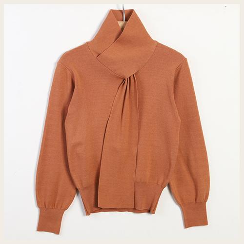 ✦Styleon✦正韓。優雅交叉假領巾長袖亞克力針織上衣。韓國連線。韓國空運。1225。