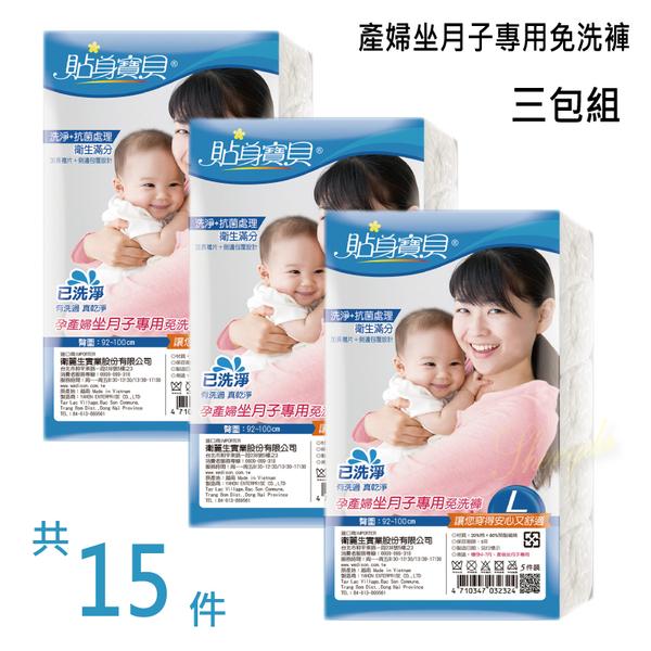 貼身寶貝 孕產婦坐月子專用免洗褲-L 5入/包 三包組共15件
