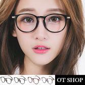 OT SHOP眼鏡框‧中性款雕刻金屬細鏡框圓型黑框平光眼鏡‧亮黑/霧黑/茶色/紅碎花‧現貨‧G03
