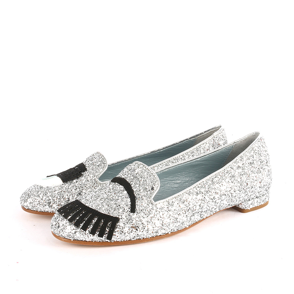 【CHIARA FERRAGNI】亮片眨眼睛平底鞋(銀色) CF811