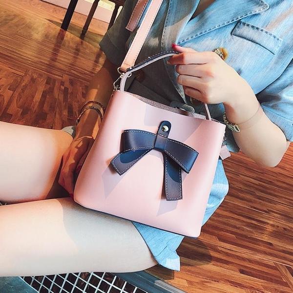 斜挎包夏天小包包女新款潮撞色手提單肩包正韓百搭斜挎包時尚水桶包