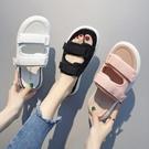 拖鞋女外穿2019夏季涼拖鞋韓版鬆糕跟休閒一字拖時尚百搭運動鞋女 米娜小鋪