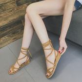 厚底涼鞋  韓版交叉綁帶小坡跟露趾系帶平底涼鞋沙灘鞋休閑羅馬