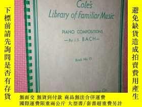 二手書博民逛書店老樂譜罕見coles library of familiar m
