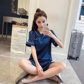 冰絲睡衣女夏兩件套絲綢分體短袖短褲套裝真絲學生清新韓版家居服