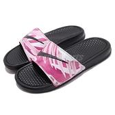 Nike 拖鞋 Wmns Benassi JDI Print 黑 粉紅 勾勾 花花 女鞋 涼拖鞋 【ACS】 618919-030