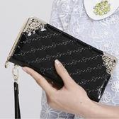 長夾 錢包女長款女生亮面拉鍊皮夾手拿包女士可愛掛繩錢夾手機包票夾 - 雙十二交換禮物