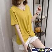 長版上衣 2020新款大碼女裝夏裝時尚短袖T恤胖妹妹200斤遮肚子洋氣減齡『麗人雅苑』