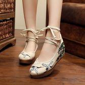 亮片繡中國風牛筋底坡跟布鞋繡花鞋 增高鞋【多多鞋包店】z6804