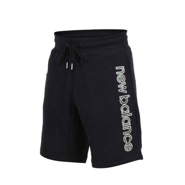 NEW BALANCE ATHLETIC 黑 迷彩字體 棉 短褲 男 (布魯克林) AMS91519BK