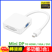 Mini DP轉HDMI DVI VGA 3合1方型轉接器