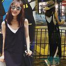 夏季海邊度假女裝黑色背心沙灘裙長裙泰國旅游雪紡無袖連身裙