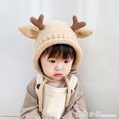 嬰兒帽子毛線帽可愛超萌小鹿秋冬加厚保暖兒童女寶寶系帶護耳帽冬 蘇菲小店