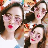 現貨-韓版vintage時尚百搭墨鏡鄭秀文同款太陽眼鏡不規則金屬個性幾何多邊形彩膜超輕蛤蟆鏡墨鏡