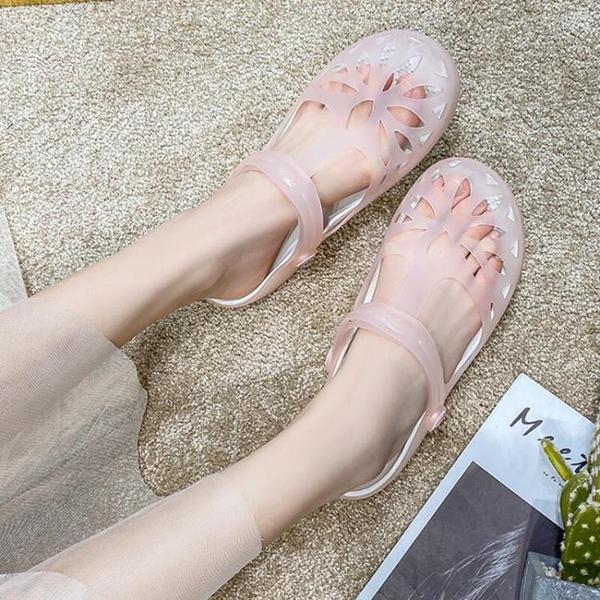 涼鞋女夏季果凍洞洞鞋女拖鞋新款韓版時尚瑪麗珍甜美學生沙灘鞋潮 8號店