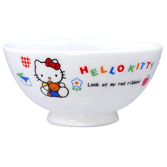〔小禮堂〕Hello Kitty 日製陶瓷碗《藍白.小熊汽球》飯碗.湯碗.金正陶器 4964412-30110