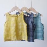 兒童格子襯衫夏季薄款男童寶寶棉紗無袖背心女童透氣純色打底襯衣 嬌糖小屋