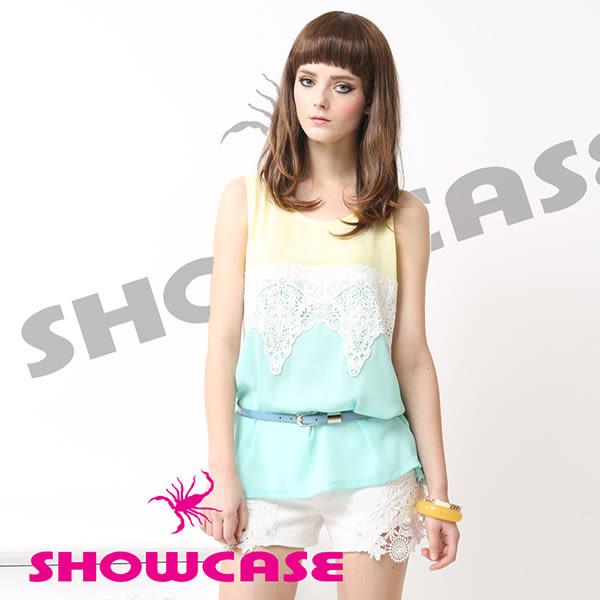 【SHOWCASE】雪紡馬卡龍色傘狀削肩上衣(綠)