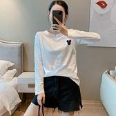 小中大尺碼長袖T恤~打底衫刺繡上衣女白色純棉T恤內搭圓領套頭女裝T305莎菲娜