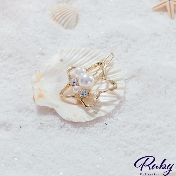 髮飾 韓國直送‧珍珠水鑽星星髮夾-Ruby s 露比午茶