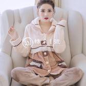 冬天睡衣女加厚珊瑚絨秋冬韓版甜美可愛長袖開衫法蘭絨