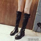 時尚女秋冬新款平底皮粗跟長筒靴