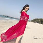 (好康免運)絲巾女西藏大披肩旅游圍巾防曬沙灘巾泰國麗江民族風麻夏季繡花