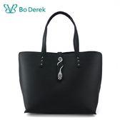 【BO DEREK】造型曲線飾扣防刮手提/斜背包-黑